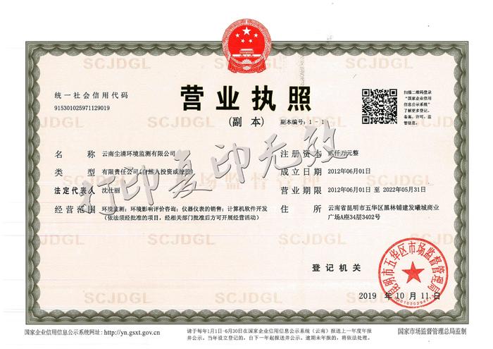 云南尘清环境监测有限公司营业执照副本