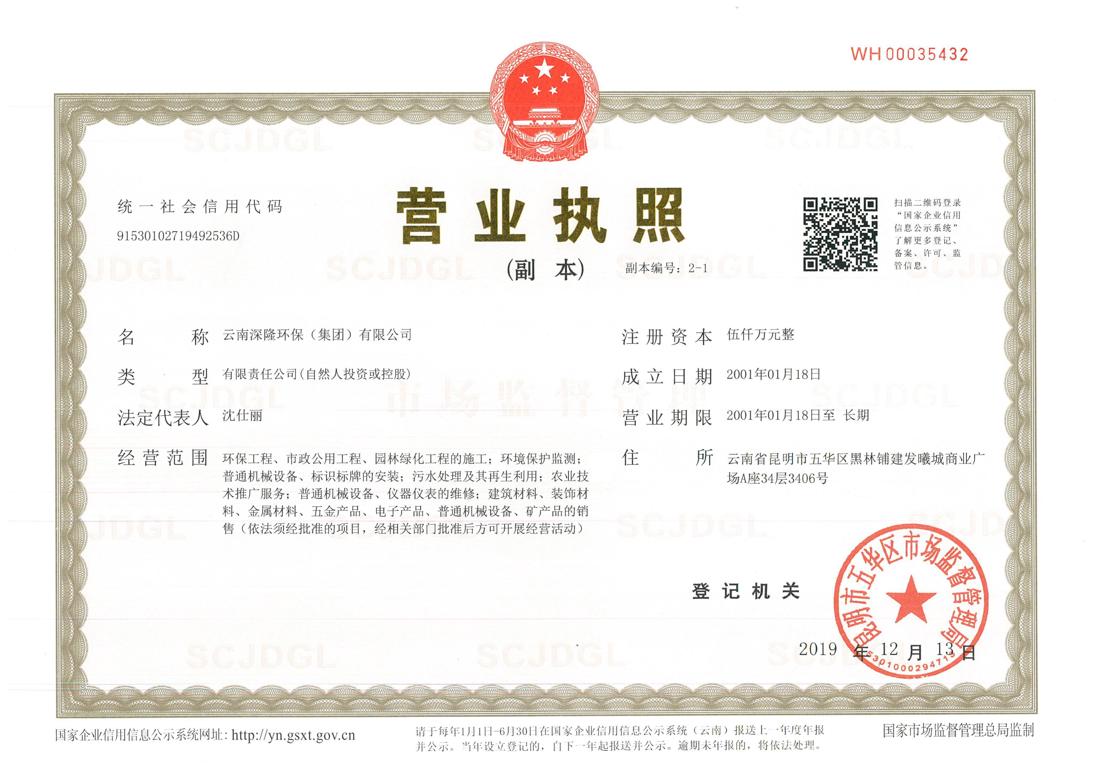 云南深隆乐虎手机app(集团)有限公司营业执照副本
