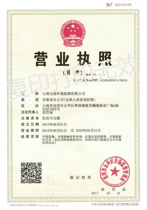 云南尘清环境监测有限公司营业执照-正本