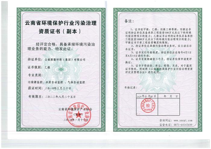 环境监测乙级资质证副本